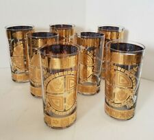 MCM Signed Culver Coronet 22K Gold High Ball Glasses Set of 7