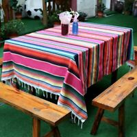 Mexican Serape Blanket Yoga Rug Cotton Tablecloth Table Runner Fiesta Party Deco