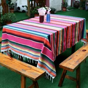 Large Mexican Serape Tablecloth Blanket Yoga Throw Rug Saltillo Table Runner
