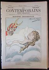 RARE CARICATURE JOURNAL LES CONTEMPORAINS N° 25 de 1881 SOPHIE CROIZETTE