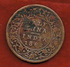 BRITISH INDIA 1862...HALF ANNA ..QUEEN VICTORIA
