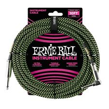 Ernie Ball 10ft Neon Green & Black Right Angle Braided Instrument Guitar Cable