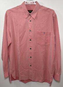 $200 NEW Ermenegildo Zegna Mens Size XL Salmon Pink Dress Shirt Long Sleeve