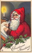 CHRISTMAS GREETING Santa Claus Writing List 1917 Vintage Embossed Postcard