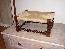 Victorian Gothic Oak Footstool Seagrass Seat w/ Barley Twist Legs[not/rush/cane]