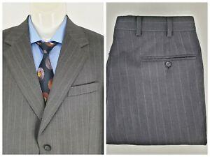 Stafford Ellison Men's 2 Pieces Suit Striped Grey Wool Sz AU 96 | W83 L80 SU02