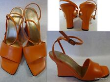 New SAM & LIBBY (Made in Brazil) Sz. 8M Leather Ankle Straps Wedge Sandal Shoes