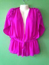 $295 Haute Hippie 100% Silk  M Pink Over Shirt Vest Coverup Top Blouse