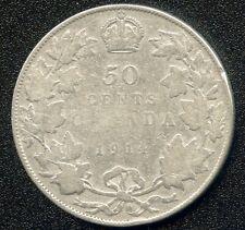 1914 Canada Silver 50 Cent Coin (11.66 Grams .925)