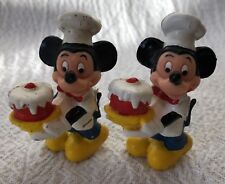 Two Vintage Walt Disney PVC Mickey Mouse Toy Figures Baker Cake