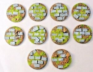 40mm Paved round resin bases, Qty 5-25, unpainted sci-fi by Daemonscape