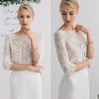 Vintage Beaded Lace Wedding White Ivory Jacket 3/4 Sleeve Bridal Bolero Custom