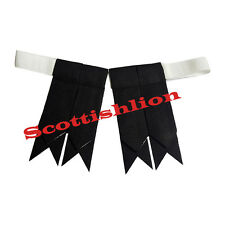 Men's Highland Kilt Hose Sock Flashes Plain Black Tartan/Black Flashes Garter/L