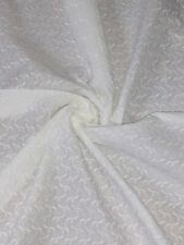 "1 Meter White Embroided Broderie Anglaise 100%Pure Cotton Dress Fabric 45""Wide"