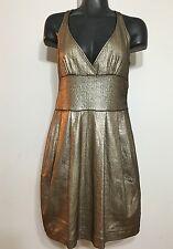 Zara Collection Women Silver Metallic Plated/Peplum Dress Sz Small Sleeveless