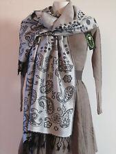 Etole écharpe scarf shawl châle100% pashmina pois cachemire grise neuf ladydjou