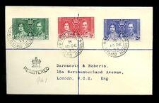 FALKLAND ISLANDS 1937 CORONATION REGISTERED LAST DAY COVER...DARRACOTT + ROBERTS