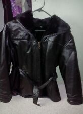 Mid length leather coat