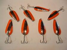 8 Eagle Bay Hmrd Orange Fishing Lures 3/4 oz  Pike Muskie Trout Salmon  USA MADE