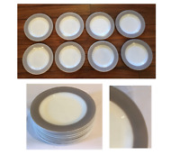 """VINTAGE Pyrex Salad Sandwich Plates 8.25""""  TAUPE RIM Set of 8 Made in USA"""