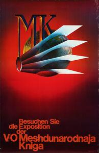 Original Vintage Poster German State Publishing Literature Exhibition Books 70s