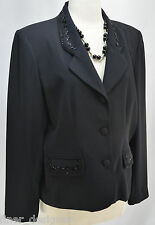 Alfred Dunner beaded coat black sexy evening blazer jacket cocktail top 16P NEW