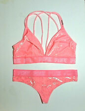 NEW*Victoria's Secret PINK* Velvet Bra~Bralette/Thong Pantie Set Size Large