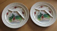 faïencerie sarreguemines signées loux ( 2 assiette a fondue raclette ) alsace
