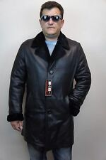 Black Genuine Leather Coat Trench with Genuine Sheepskin Shearling lining S-8XL