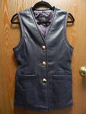 """Wilsons 34"""" Bust Women's M Long Dark Blue/Purple Leather Vest Mini Dress"""