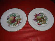 TWO VINTAGE FRUIT DESIGN PLATES BY EMBASSY USA VITRIFIED CHINA  8 INCHES