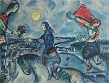 """MARC CHAGALL """"Lovers Over Paris"""" Limited Edition Colour Lithograph"""