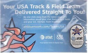 2008 AT&T Beijing USA Track & Field Team Olympic Pin Indoor Championships Card