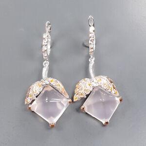Handmade SET Rose Quartz Earrings Silver 925 Sterling   /E55401