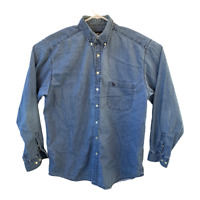 Eddie Bauer Mens Size L Blue Cotton Button Up Long Sleeve Denim Shirt Pockets