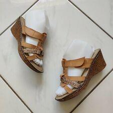 Patrizia Spring Step Magan Sandal Wedges Leather Natural Boho Slip On EUC Size 7