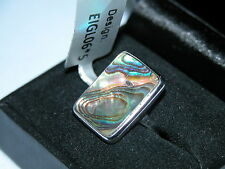 LOT 132 STUNNING LARGE ABALONE SOLID STERLING SILVER RING SIZE J