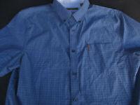 Ben Sherman Mens Button Front Short Sleeve Cotton Spandex Logo Shirt Large L