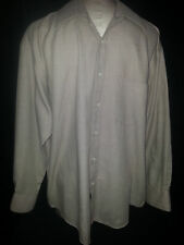 YVES SAINT LAURENT Mens Long Sleeve Button Front Shirt Large 16-32 Brown White