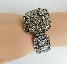 Antique Edwardian Art Deco Czech Silver Filigree Marcasite Bracelet  Signed