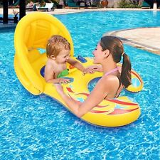 Baby Pool Float, Inflatable Mother Baby Swim Ring Parent Child Sound Wheel Toy