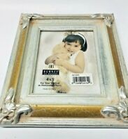 BURNES OF BOSTON SILVER WOOD GOLD CRACKLED PICTURE FRAME FOR 4X6 PHOTO ELEGANT!