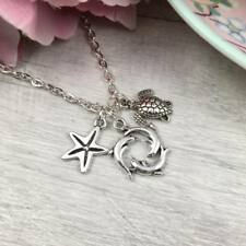 """Silver SEALIFE Necklace DOLPHIN Starfish TURTLE Charms Summer BEACH Pendant 18"""""""