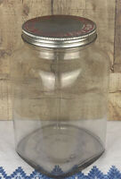 Large Vintage General Store Glass Display Jar with Metal Lid Fresh Nut Flavor