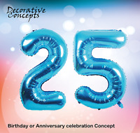 """Giant 25th Birthday Party 40"""" Foil Balloon Helium Air Decoration Age 25 BLUE"""