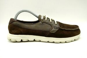Skechers On The Go Brown Leather Casual Comfort Lace Up Shoes Women's 9