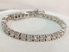 9ct ROUND CUT DIAMOND TENNIS BRACELET 14K WHITE GOLD CERTIFIED NATURAL F VS1