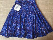 NWT LulaRoe Girls Tween Teen Azure Skirt Size 6 Blue Fireworks American Summer