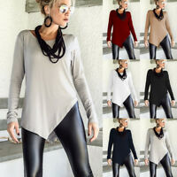 S-4XL 6 Colors Fashion Women Long Sleeve Casual Loose Tops T-shirt Solid Shirts