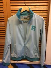 Womens Reebok Tracksuit Jacket Only Size M 12-14 Light Blue Design With Green
